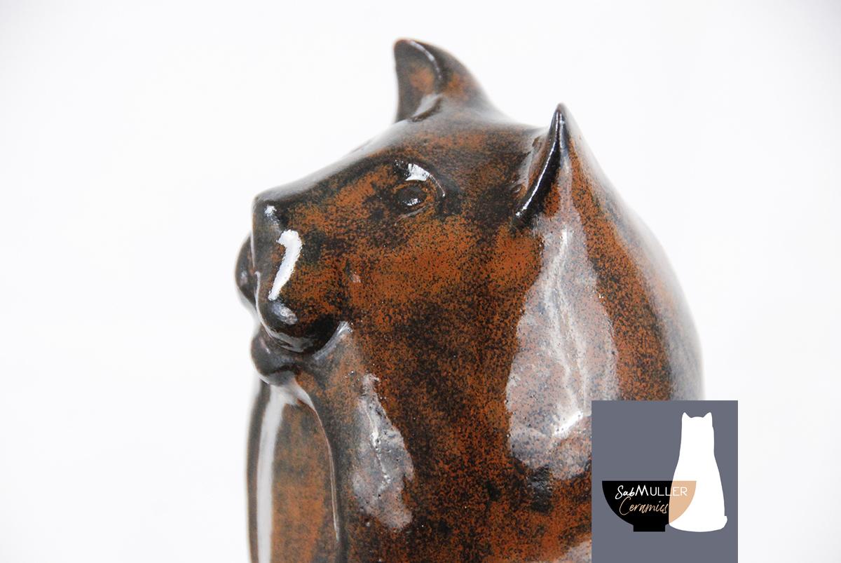 4-Chat Motte , sculpture SabMuller émaillée 'temmoku'